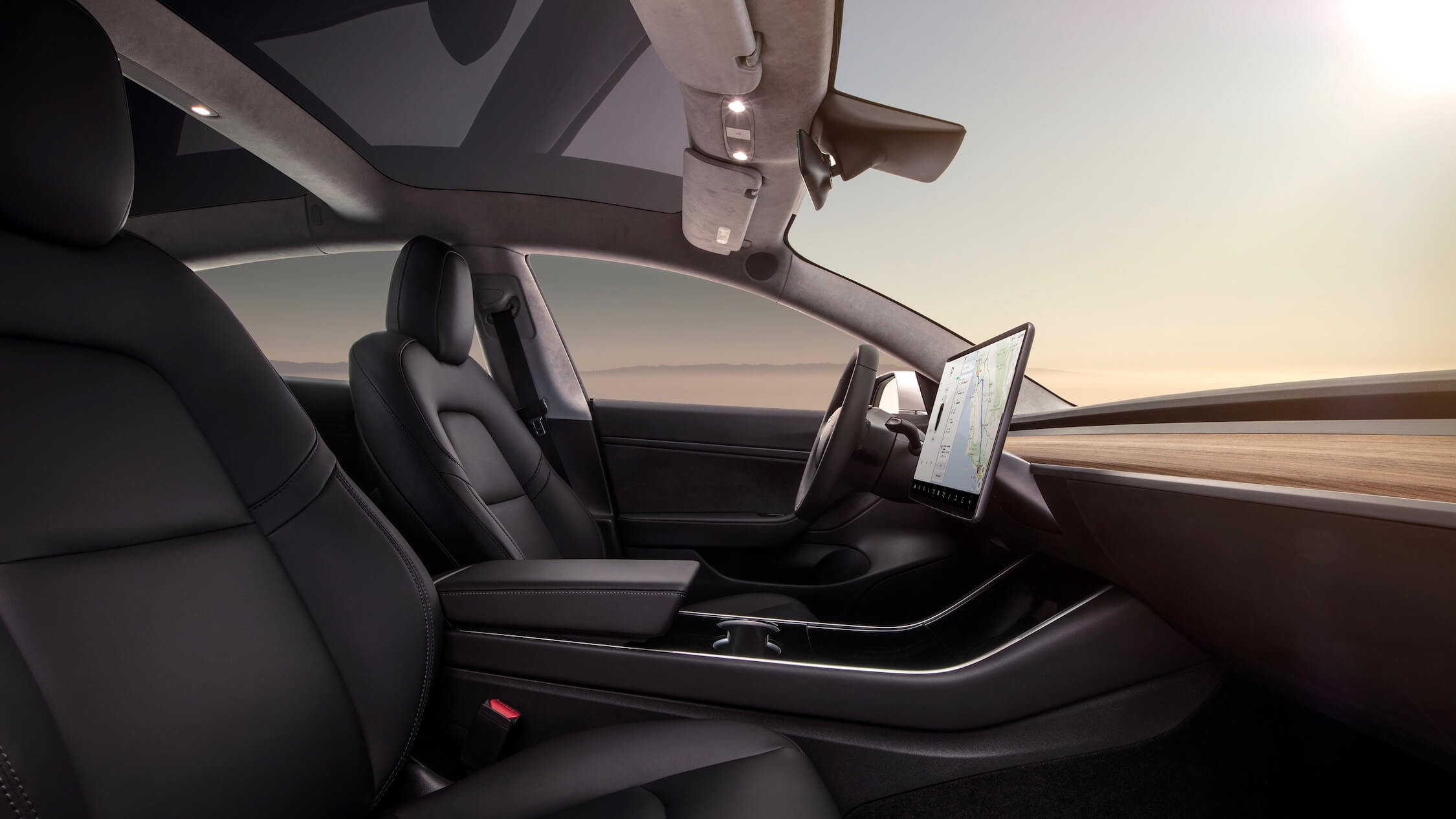 Tesla Model 3 dashboard and interior