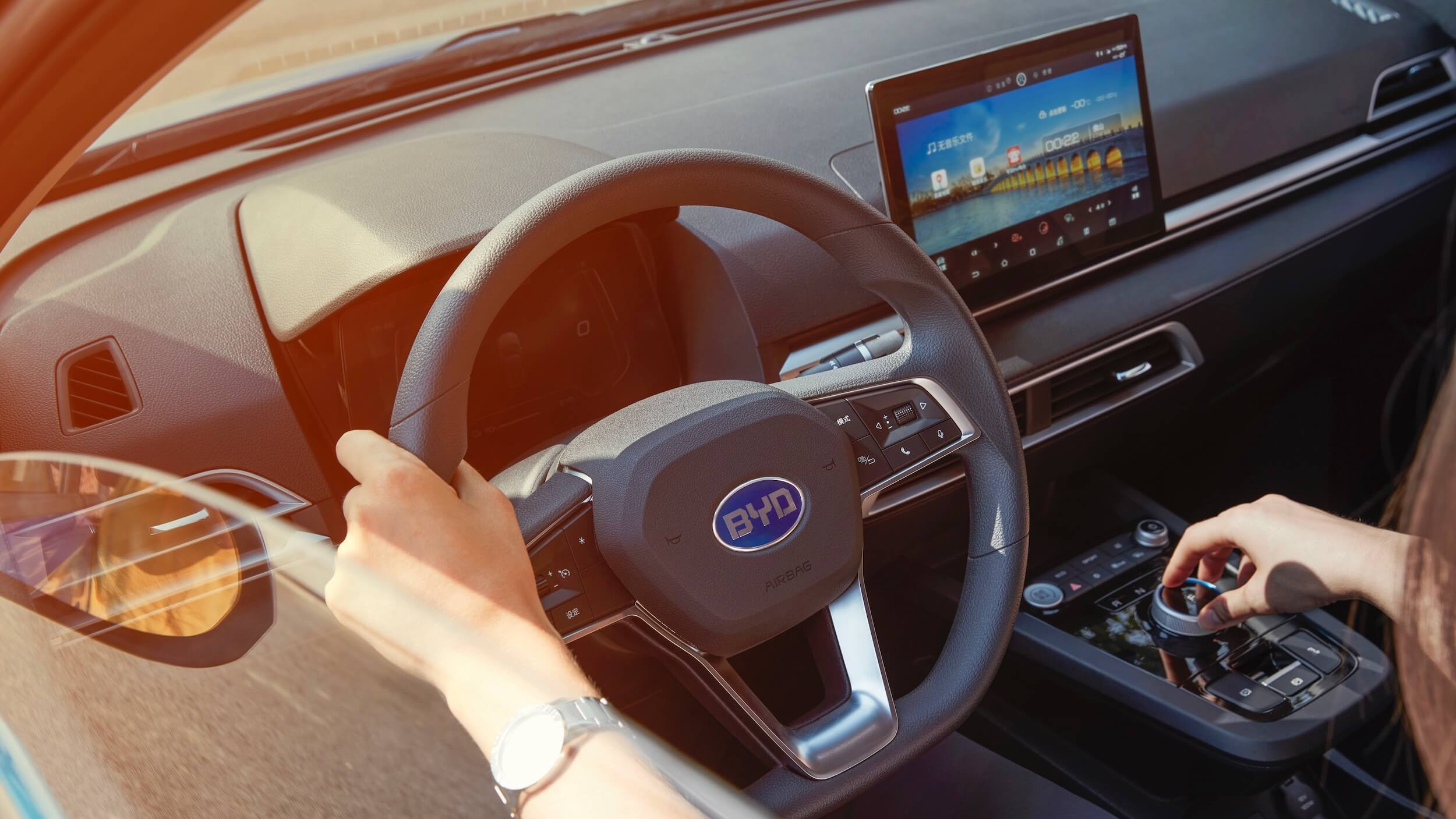 BYD e2 steering wheel and dashboard